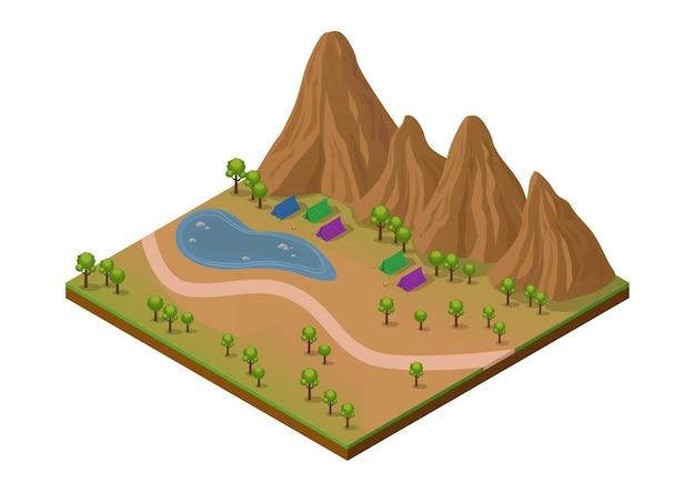 Isometrischer outdoor-park mit berg, see, bäumen und campingplatz. isoliert auf weiß