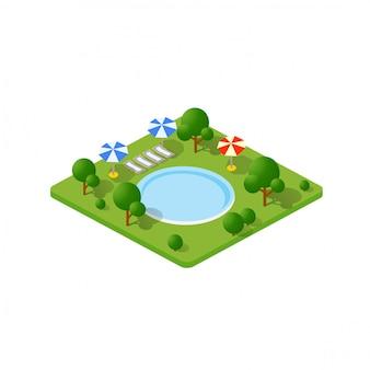 Isometrischer park der bäume 3d