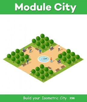 Isometrischer park mit bäumen