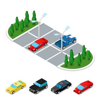 Isometrischer parkplatz auf weiß