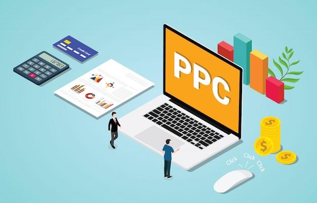 Isometrischer pc 3d gezahlt pro clik werbung oder anzeigenkonzept