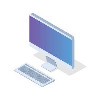 Isometrischer pc, desktop-symbol. vektorillustration im flachen stil.