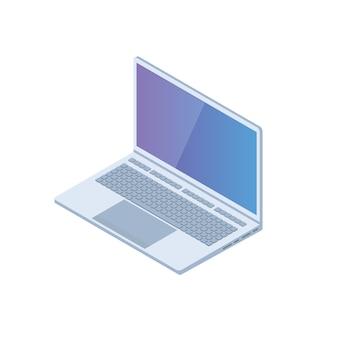 Isometrischer pc, laptop, notebook-symbol. vektorillustration im flachen stil.