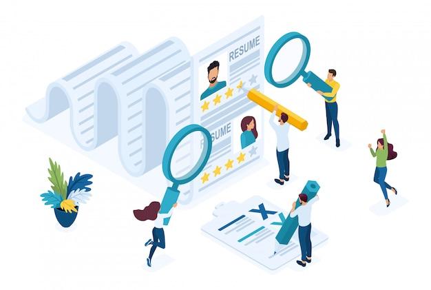 Isometrischer personalmanager, berücksichtigung der zusammenfassung, rekrutierungskonzept.