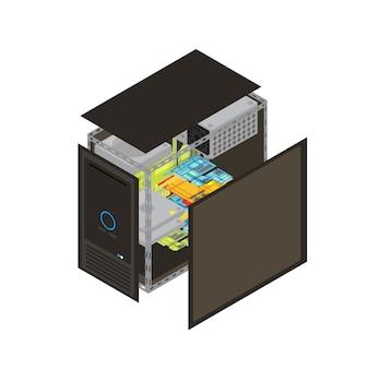 Isometrischer realistischer prozessorentwurf mit wänden entfernt, um die innere vektorillustration zu zeigen