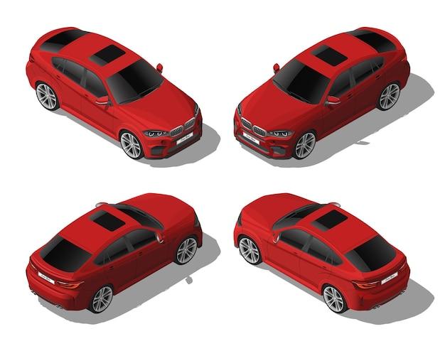 Isometrischer roter offroad-autosatz von verschiedenen seiten moderner fahrzeugvektor lokalisiert auf weiß