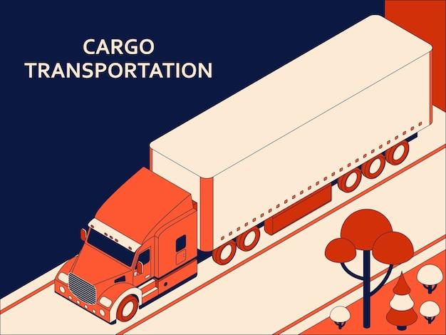 Isometrischer sattelzug mit roter kabine, die kommerzielle fracht transportiert, die sich auf der autobahn bewegt