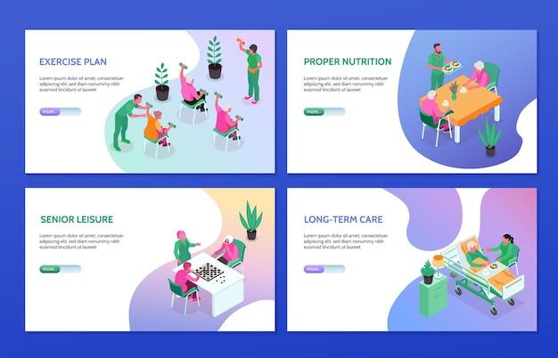 Isometrischer satz der behandlung im pflegeheim in der 3d-illustration