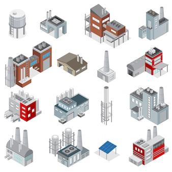 Isometrischer satz der industriegebäude elemente für den fabriken- und kraftwerkerbauer lokalisiert