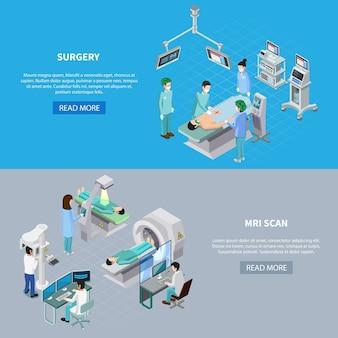 Isometrischer satz der medizinischen ausrüstung von zwei horizontalen fahnen mit las mehr editable text und bilder des knopfes