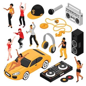 Isometrischer satz der rapmusik-kultursymbole mit retro- zubehör der sängerausführenden, damit kassettenrecorder lokalisiert wird