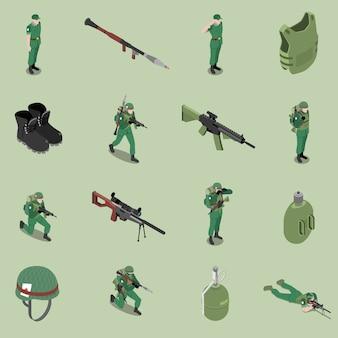Isometrischer satz der soldatausrüstung sturzhelmkörper-rüstungsgewehr-stiefelettensoldatglas lokalisierte ikonen
