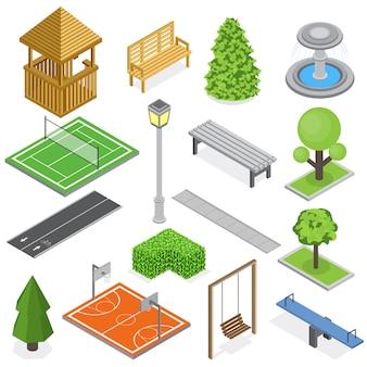 Isometrischer satz der stadtpark-infrastruktur elemente des grünkinderspielplatzes und der sportgerichte lokalisiert