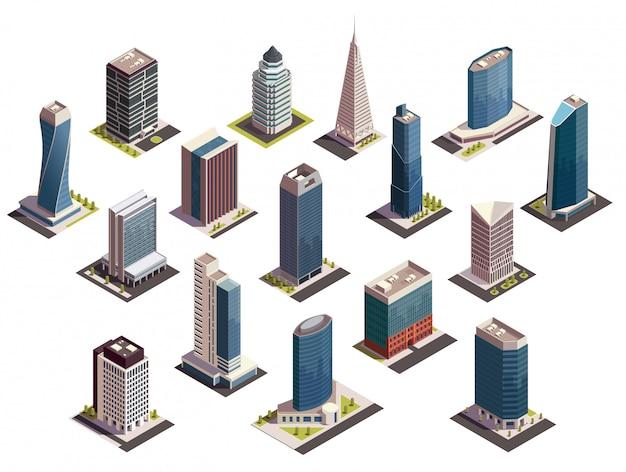 Isometrischer satz der stadtwolkenkratzer lokalisierte bilder mit blicken im freien von modernen gebäuden auf leerer hintergrundillustration