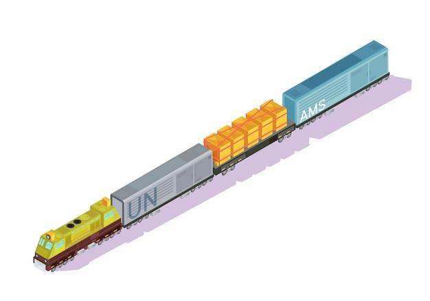 Isometrischer satz der züge autos mit lokomotiventriebwagen- und frachtkühlschrankbahnwagen mit schattenvektorillustration