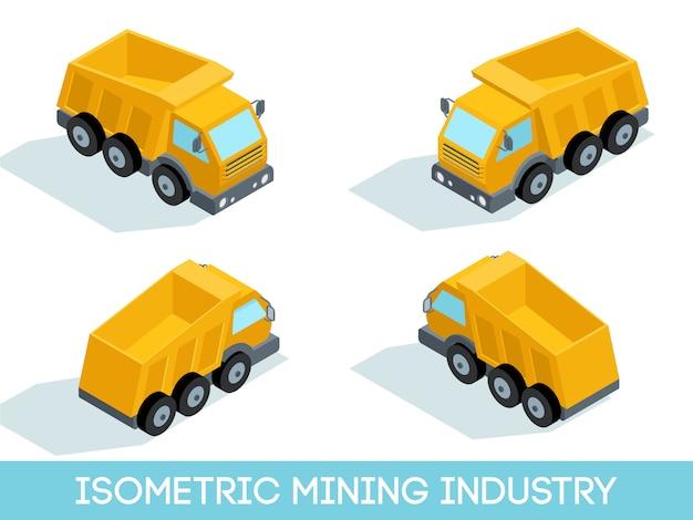 Isometrischer satz des bergbaus 3d, bergwerksausrüstung und fahrzeuge lokalisierten vektorillustration