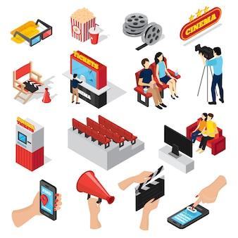 Isometrischer satz des kinos 3d des lokalisierten kartenbüros setzt leute popcorn und smartphone, die app-ikonen ticketing sind