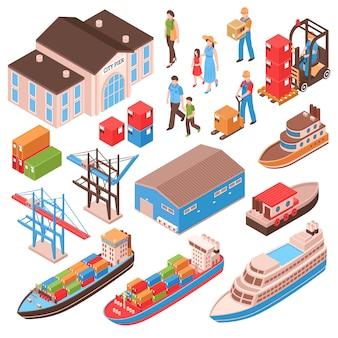 Isometrischer satz des seehafens mit stadtpersonen, piergebäude, frachtschiffen, hafenanlagen