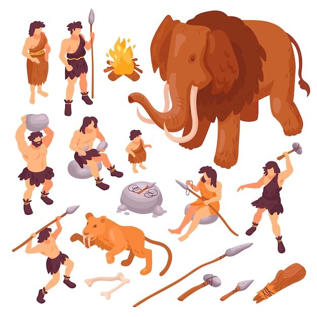 Isometrischer satz ikonen mit urmenschen ihre waffen und alten tiere lokalisiert auf weißer illustration des hintergrundes 3d