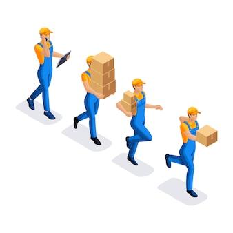 Isometrischer satz von handlungen des menschen in uniform mit pappkartons, die arbeit des lieferservices. lieferkonzept. schneller lieferwagen. lieferant