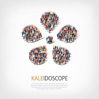 Isometrischer satz von kaleidoskop, web-infografiken-konzept eines überfüllten quadrats