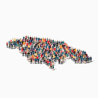 Isometrischer satz von personen, die karte von jamaika bilden