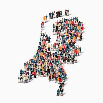 Isometrischer satz von personen, die karte von niederlande, land, web-infografiken-konzept des überfüllten raums bilden, flache 3d. crowd-point-gruppe, die eine vorbestimmte form bildet.