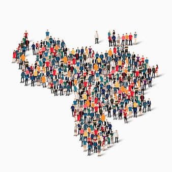 Isometrischer satz von personen, die karte von venezuela bilden