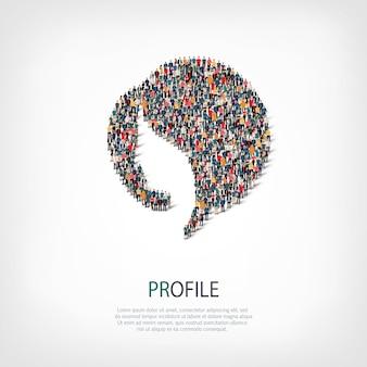 Isometrischer satz von stilen abstrakt, profil, symbol web infografiken konzept illustration eines überfüllten quadrats. crowd-point-gruppe, die eine vorbestimmte form bildet.