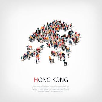 Isometrischer satz von stilen, personen, karte von hongkong, land, web-infografiken-konzept des überfüllten raums. crowd-point-gruppe, die eine vorbestimmte form bildet. kreative leute.