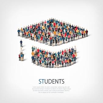 Isometrischer satz von studenten, web-infografiken-konzept eines überfüllten platzes