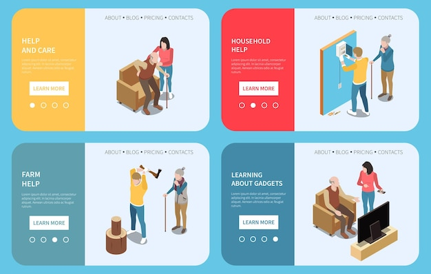 Isometrischer satz von vier horizontalen bannern mit schaltflächen und textillustration für ältere menschen