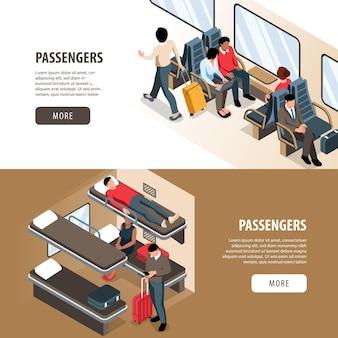 Isometrischer satz von zwei horizontalen bannern mit passagieren, die mit dem zug reisen