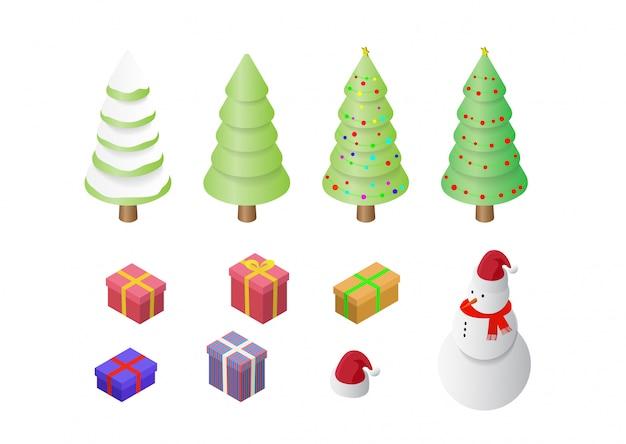 Isometrischer satz weihnachtsfeiertags-dekorationsikonen stellte lokalisierte illustration ein