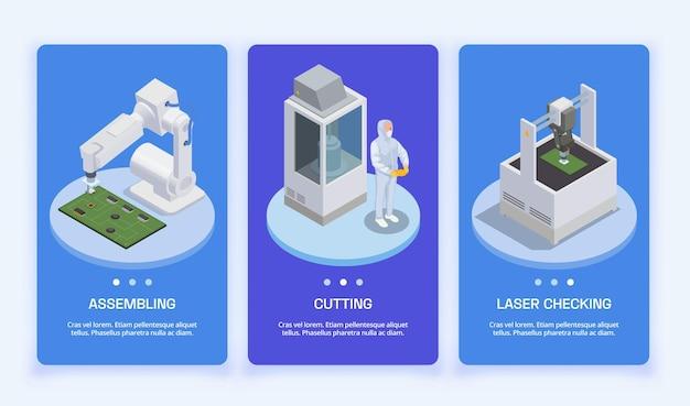 Isometrischer satz zur herstellung von halbleiterchips mit drei vertikalen bannern mit seitenschaltern für text und industrieanlagen