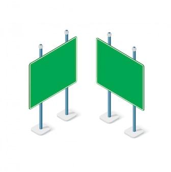 Isometrischer satzstraßengegenstand der verkehrsschilder