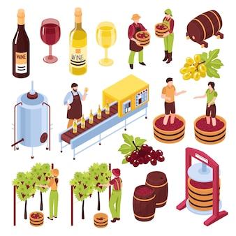 Isometrischer satzweinberg der weinkellerei mit dem erntepressen von den trauben, die förderergetränk in bechern abfüllen, lokalisierte illustration