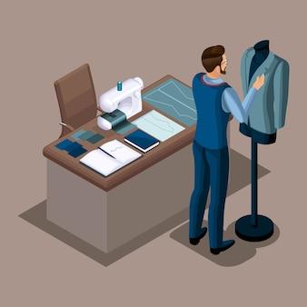 Isometrischer schneider, arbeit in einer nähwerkstatt, anziehen von kleidung auf einer schaufensterpuppe, privates atelier. der unternehmer arbeitet für sich selbst, sein eigenes geschäft