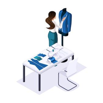 Isometrischer schneider, designer kreiert, schneidet kleidung für high fashion, kunden, privates atelier, werkstatt. der unternehmer arbeitet für sich selbst, sein eigenes geschäft