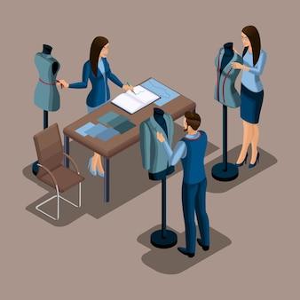 Isometrischer schneider, die herstellung von qualitätskleidung auf bestellung, eine werkstatt, ein atelier. schneiderei. der unternehmer arbeitet für sich selbst, sein eigenes geschäft setzt 1
