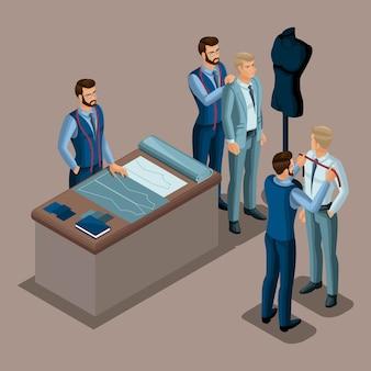 Isometrischer schneider, die herstellung von qualitätskleidung auf bestellung, eine werkstatt, ein atelier. schneiderei. der unternehmer arbeitet für sich selbst, sein eigenes geschäft setzt 2