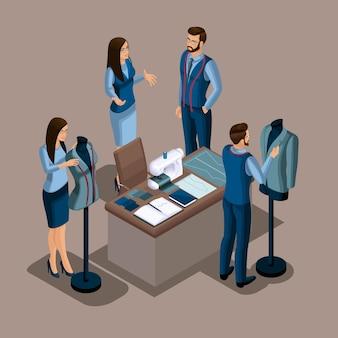Isometrischer schneider, die herstellung von qualitätskleidung auf bestellung, eine werkstatt, ein atelier. schneiderei. der unternehmer arbeitet für sich selbst, sein eigenes geschäft setzt 3