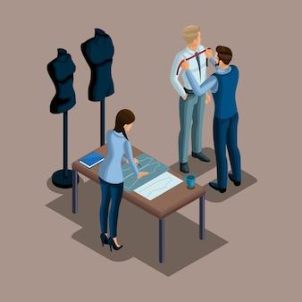 Isometrischer schneider, die herstellung von qualitätskleidung auf bestellung, eine werkstatt, ein atelier. schneiderei. der unternehmer arbeitet für sich selbst, sein eigenes geschäft setzt 6