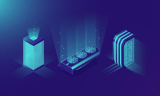 Isometrischer serverraum, konzept des servergestells