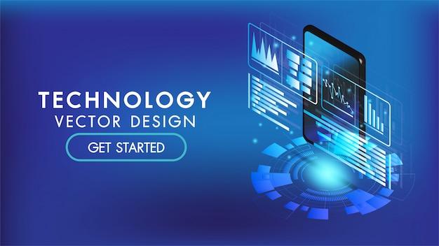 Isometrischer smartphone- oder tablet-3d-schnittstellenhintergrund. bildschirm intelligent und einfach