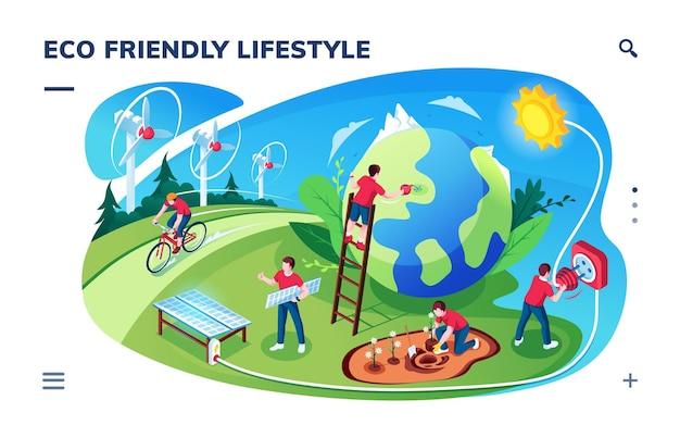 Isometrischer smartphonebildschirm mit umweltfreundlichem lifestyle-konzept