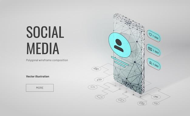 Isometrischer social media-hintergrund mit polygonaler wireframe art