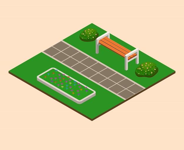 Isometrischer sommerstadtpark, bäume, büsche, bänke