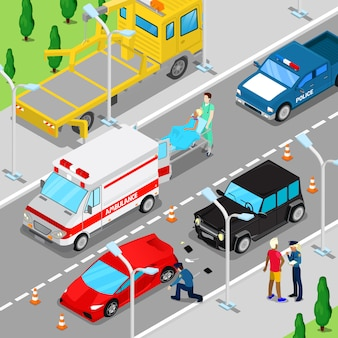 Isometrischer stadtautounfall mit krankenwagen, abschleppwagen und polizeifahrzeug.