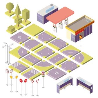 Isometrischer stadtbauer mit elementen 3d